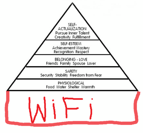 This made me laugh. An addition to Maslow's hierarchy of needs.png